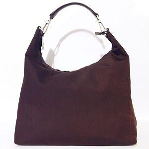 Gucci brown nylon and leather medium hobo bag